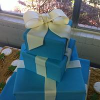 Tiffany Box Wedding Cake with sand dollar and palm tree cookies in edible sand by Tammy
