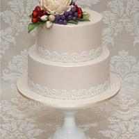 David Austin Rose & Rose Hips Wedding Cake