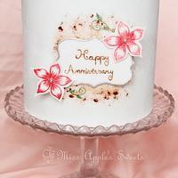 Hand Painted Anniversary Cake