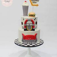 50s Themed Drive-In Cake