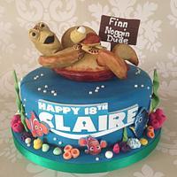 'Crush & Squirt' Finding Nemo 18th Birthday cake by Sugar Sweet Cakes