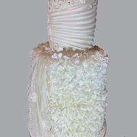 Pearl white wedding cake- Couture Cakers 2020
