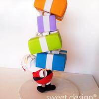 Santa carrying cakes