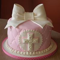 Pink Holy Communion cake & cupcakes