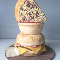 Burger, Pie and Pizza Stack