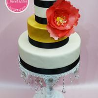 Fondant cake with wafer paper flower
