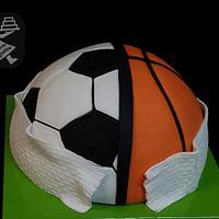 Futball and basketball cake