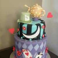 Alice in Wonderland themed 21st Cake