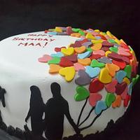 Family black silhouette birthday cake