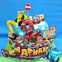 Children cake with cars