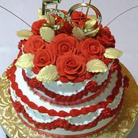 Red, White, and Gold 50th Birthday cake
