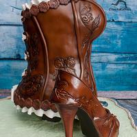 Western Tooled Leather Standing Corset Cake with matching stiletto by Ciccio