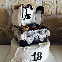 Girly cake in black and white