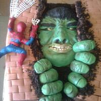 The Hulk and Spiderman Cake