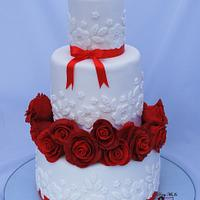 White and red cake