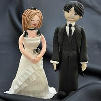Bride and groom made from modelling paste by Icing to Slicing