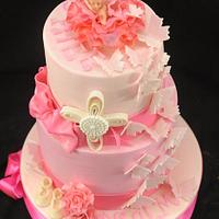Pink Christening Cake With Cherub