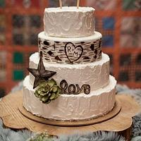 Rustic Buttercream and Birch Wedding Cake with Gumpaste Accents