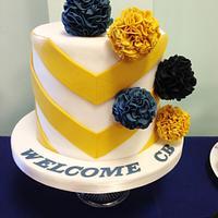 Bajan chevron and Pom-Pom baby shower cake - July 2015