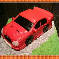 red evo car cake