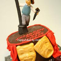 "west end ""singing in the rain"" inspired cake"