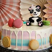 Drip cake with panda bear