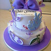 Colourful 15th cake with bow
