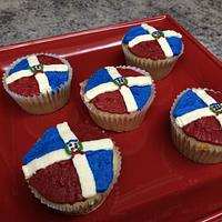 Dominican Republic Flag Cupcakes