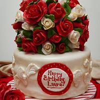Elegant red and white birthday cake