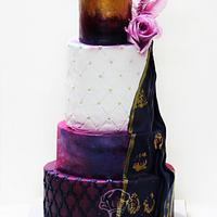 Purple & Blue Wedding Cake