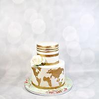 World traveler wedding shower cake