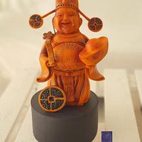 Wood crafted God of Wealth