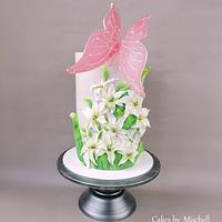Flower cake with butterfly