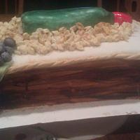 Wine cake with wood grain box