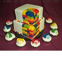 lego cupcakes and wedding cake