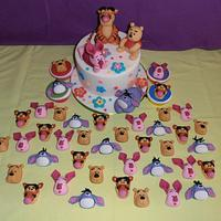 Winnie the Pooh & Co. cake, cupcakes and toppers