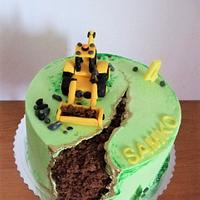 Fault line cake with excavator