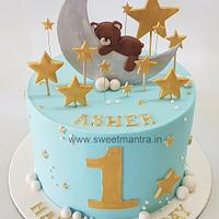 Moon and stars theme 1st birthday cake for boy