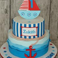 Nautical themed 1st Birthday cake