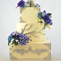 Blue and Purple Wedding Cake