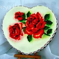 Walentynkowe serce z czerwonymi różami