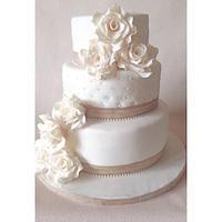 Ivory and hessian wedding cake!
