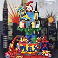 Super Heroes Gravity Defying Cake