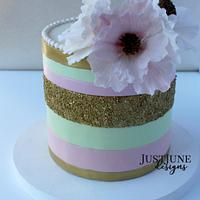 AKA Pink and Gold Metallic Birthday Party Cake