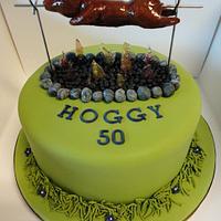 Hog roast, spit road birthday cake