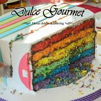 Colorful cake for a 15th. birthday party by Silvia Caballero