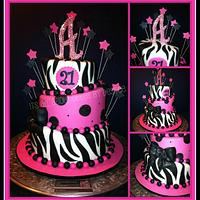 Pink and Black 21st Birthday Topsy Turvy
