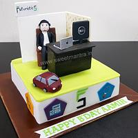Office desk, cubicle shaped 3D designer fondant cake for company Futuristic 5's boss/CEO's birthday