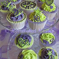 Birthday cupcakes in purple and lime green