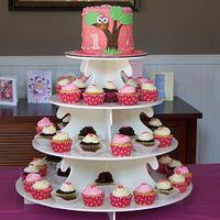 Avery's Owl Birthday- cake & cupcake tower